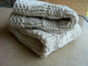 Two Hand Knit Ecru Spa Washcloths by All Unwound