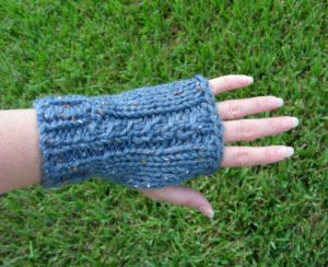 Blue hand knit fingerless gloves with a cable up the back AllUnwound.com