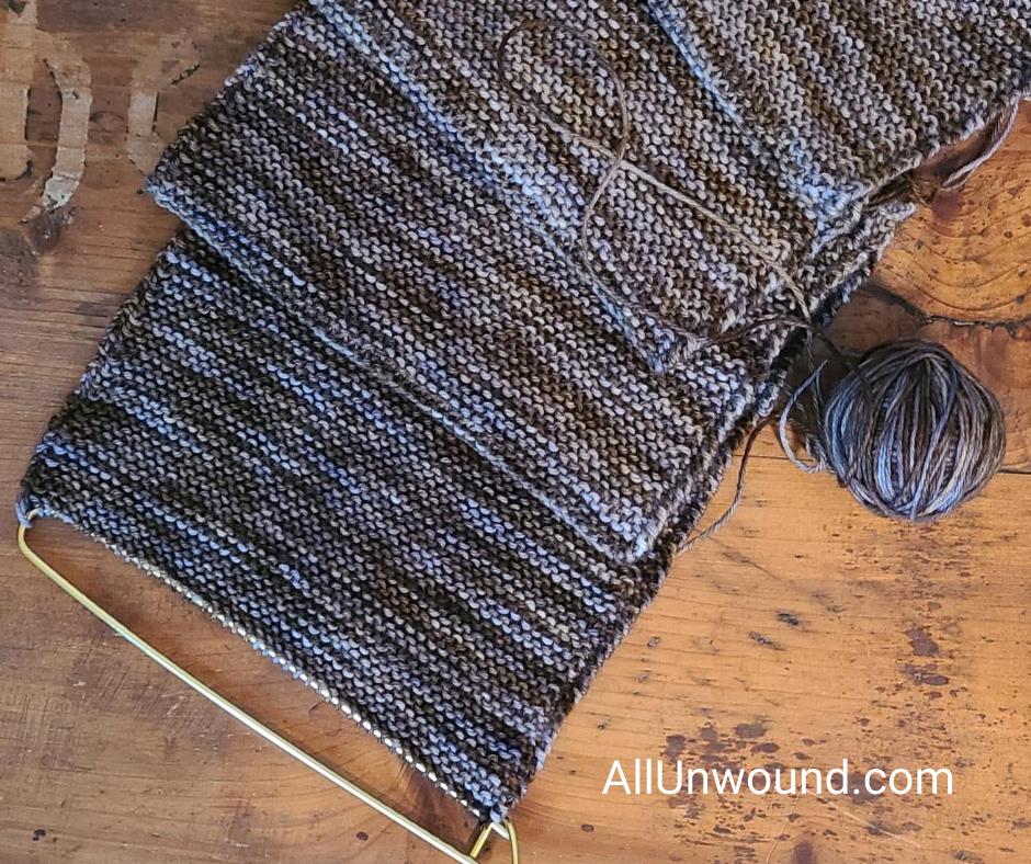 AllUnwound.com Knitting UFO on stitch holder garter stitch shades of brown