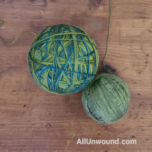 AllUnwound.com Handmaiden Yarns ball of olive ball of variegated