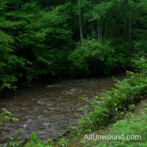 AllUnwound.com a babbling brook in the mountains, the banks are green with summer foliage near Franklin, NC, USA